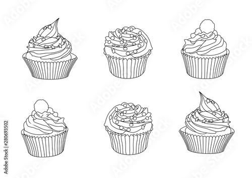 Photo  Line cupcakes on white background illustration vector