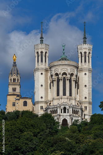 Fényképezés  Basilica at the top of the hill in Lyon city, France