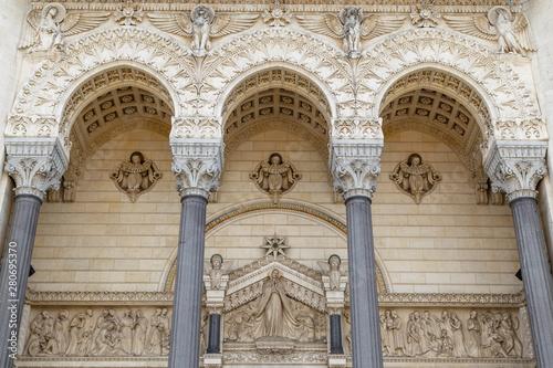 Fényképezés  Facade decoration of Basilica of Notre-Dame de Fourviere in Lyon, France