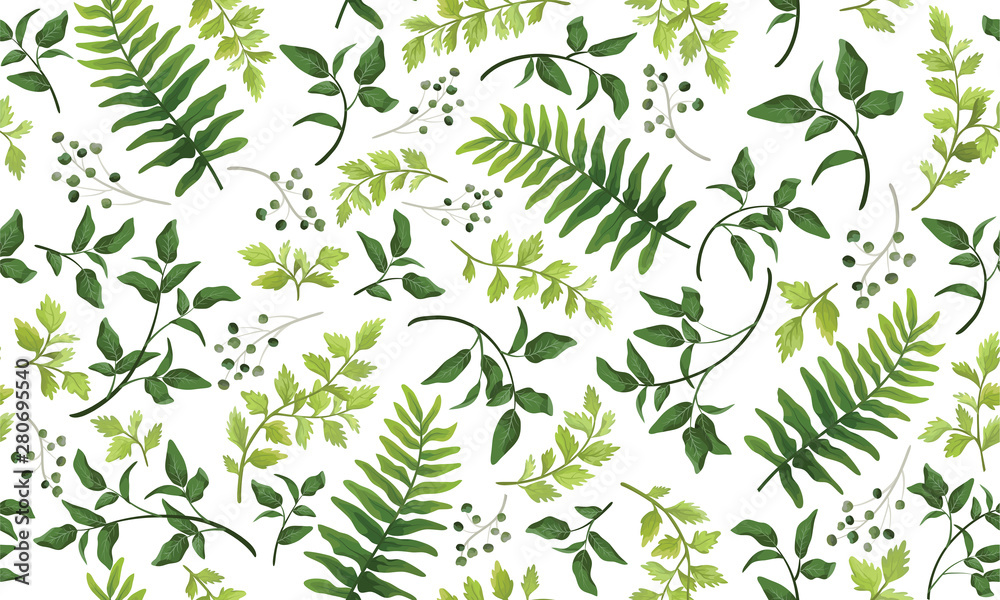 Fototapety, obrazy: Beautiful pattern seamless of fern, palm, natural branches, green leaves, herbs, hand drawn watercolor style fresh rustic eco. Vector decorative cute elegant illustration isolated white background