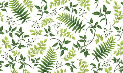 Panel Szklany Do kuchni Beautiful pattern seamless of fern, palm, natural branches, green leaves, herbs, hand drawn watercolor style fresh rustic eco. Vector decorative cute elegant illustration isolated white background