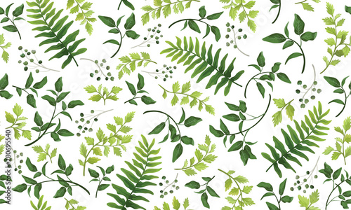 Pinturas sobre lienzo  Beautiful pattern seamless of fern, palm, natural branches, green leaves, herbs, hand drawn watercolor style fresh rustic eco