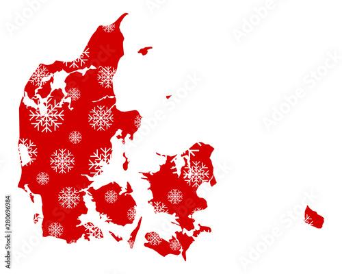 Obraz na plátně Karte von Dänemark mit Schneeflocken