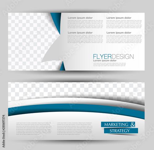 Fototapeta Horizontal banner or web header template set. Vector illustration promotion design background. Blue color. obraz