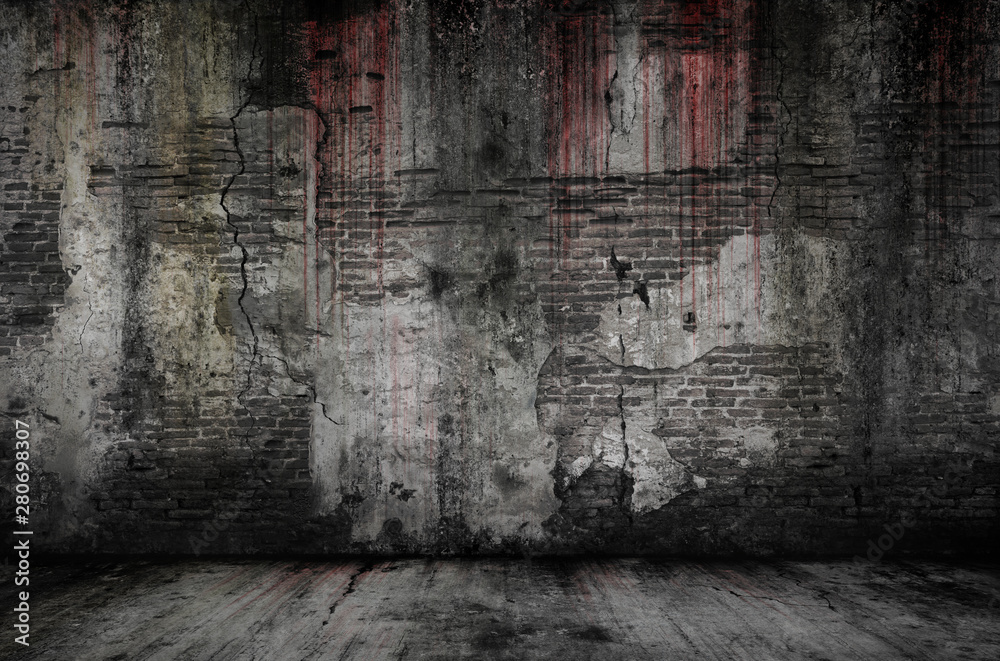 Fototapeta Bloody background scary old bricks wall and floor, concept of horror and Halloween