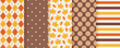 Autumn pattern. Vector. Seamless background with fall leaves, polka dot, stripes and rhombus. Set seasonal geometric print. Cute abstract wallpaper textures. Colorful cartoon illustration. Flat design
