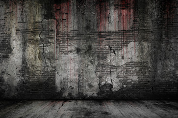 Bloody background scary old bricks wall and floor, concept of horror and Halloween