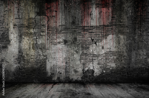Poster Brick wall Bloody background scary old bricks wall and floor, concept of horror and Halloween
