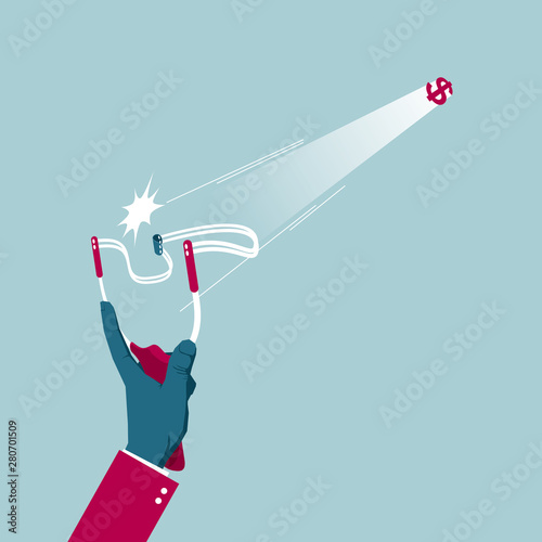 Shoot with a slingshot. Isolated on blue background. Canvas-taulu