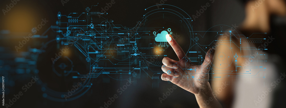 Fototapeta businesswoman hand pushing icon Ui of Cloud Computing Technology Internet Storage Network Concept
