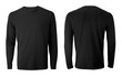 canvas print picture - Men's long sleeve black t-shirt with front and back views isolated on white