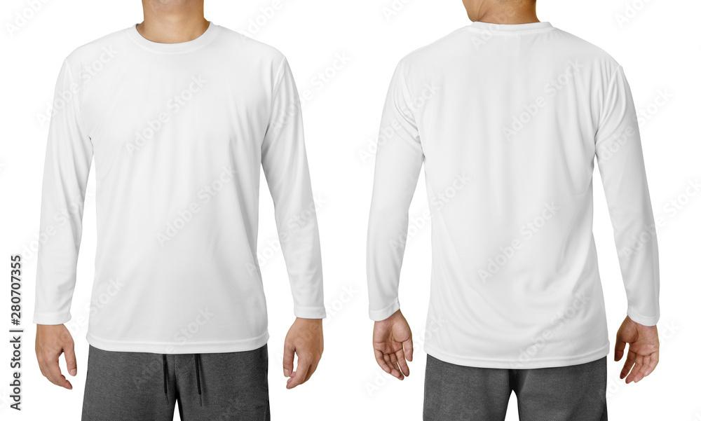 Fototapety, obrazy: White Long Sleeved Shirt Design Template isolated on white