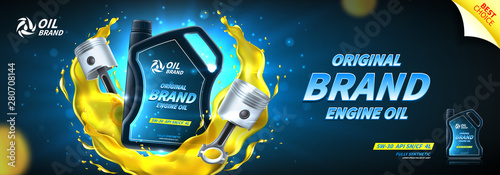 Fototapeta Engine oil advertisement banner. Vector illustration with realistic pistons and canister on bright background with motor oil splashes. 3d ads template. obraz