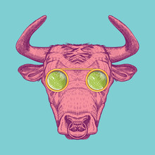 Vector Image Of A Cow With Glasses. Bull Painted In Pink On A Turquoise Background.