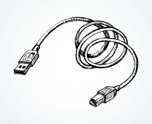 Cord For Charging The Phone. Vector Drawing