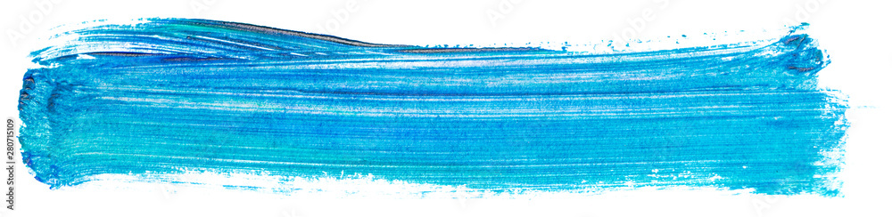 Fototapeta light blue acrylic stain element on white background. with brush and paint texture hand-drawn. acrylic brush strokes abstract fluid liquid ink pattern