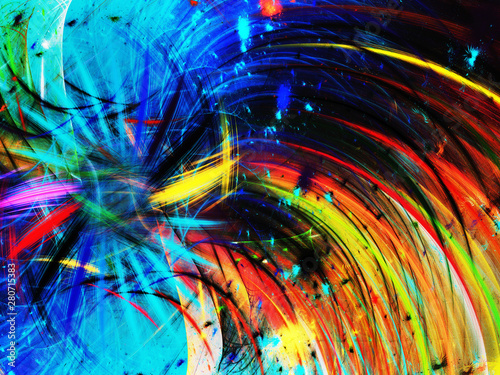 rainbow abstract fractal background 3d rendering illustration - 280715383