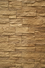 Close Up Abstract Pattern Of Sandstone Brick Wall Background In Vintage Tone Style And Vertical Frame,