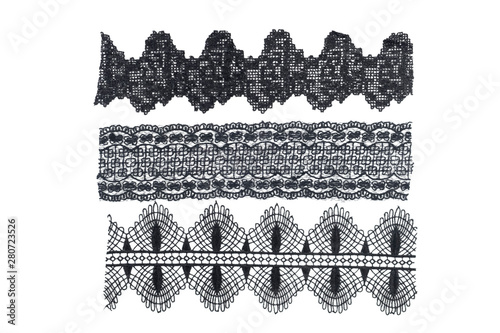 Leinwand Poster strip of black lace isolated,border lace isolated