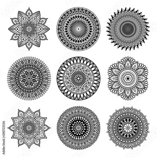 Photo Stands Boho Style Set of mandala shape on white background, vector illustration