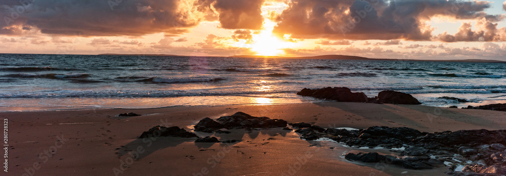 Fototapety, obrazy: Golden light beach sunset reflection, Atlantic ocean on the west coast of Ireland
