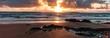 Golden light beach sunset reflection, Atlantic ocean on the west coast of Ireland