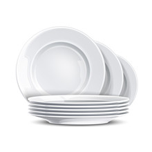 Stack Of Clean Plates. Vector Restaurant Dishes Mockup. Realistic Dishware, Stacked Kitchen Tableware. Ceramic Dishes Pile. Isolated Illustration