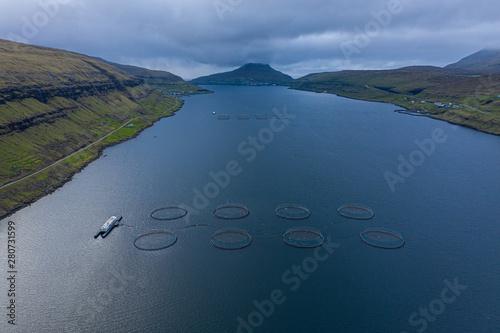 Fish farm aquaculture aerial view, Faroe Islands Canvas Print