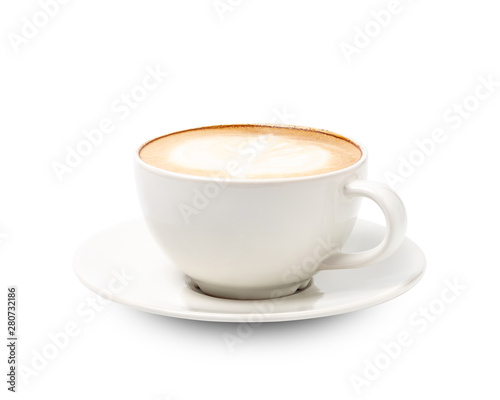 Fotomural White cup of coffee cappuccino isolated on white background with clipping path
