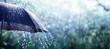 Leinwanddruck Bild - Rain On Umbrella - Weather Concept