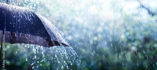 Rain On Umbrella - Weather Concept Fototapet