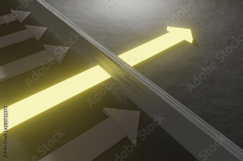 Glowing arrow breaking through wall on concrete background Wallpaper Mural