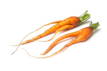 Closeup Of Two Funny Carrots O...