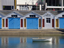 Row Of Colourful Boat Sheds In Central Wellington, New Zealand
