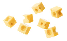 Falling Cubic Pieces Of Delicious Cheese, Isolated On White Background