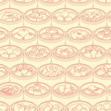Seamless Vector Pattern With Asian Food Dim Sum. Hand Drawn Yang Cha Illustration.