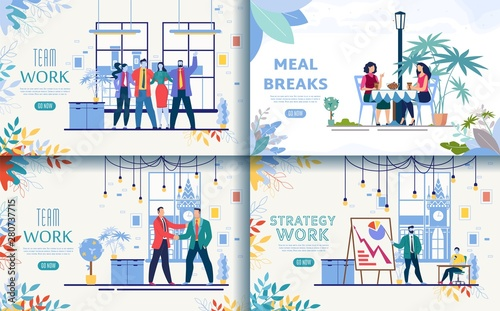 Business Company Flat Vector Web Banners Set Wallpaper Mural