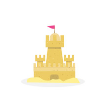 Sand Castle Isolated On White Background, Icon