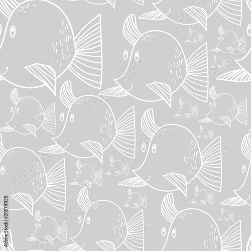 Fish, silhouette, linear drawing, seamless pattern, vector illustration