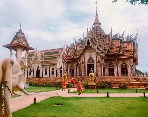 thai temple in bangkok thailand Canvas Print