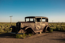 Vintage Car At Petrified Forest National Park