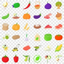 Farming Icons Set. Cartoon Style Of 36 Farming Vector Icons For Web For Any Design