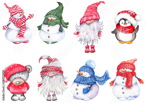 Spoed Fotobehang Kerstmis Set of Christmas cartoon characters, wearing knitted hats, scarves and mittens. Cute snowmen, teddy bear, penguin and scandinavian dwarf. Watercolor isolated on white background.