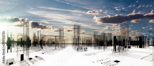 Obraz Diseño arquitectónico de la ciudad moderna en 3d. Fondo de arquitectura abstracta y edificios. Construcción e ingeniería - fototapety do salonu