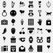 Heart Icons Set. Simple Style Of 36 Heart Vector Icons For Web For Any Design