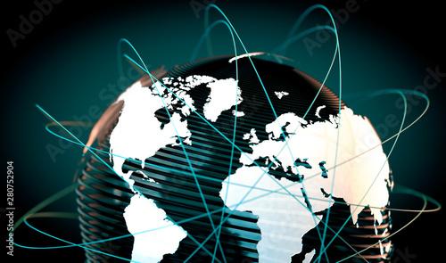 Photo Mapa del mundo y concepto de acuerdos comerciales en internet