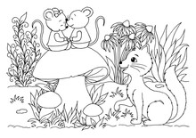 Vector Illustration Zentangl. The Cat Is Watching The Mice That Sit On The Mushroom Among The Flowers. Coloring Book. Antistress For Adults And Children. Work Done In Manual Mode. Black And White.