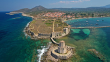 Aerial Drone Panoramic View Of Iconic Venetian Castle Of Methoni And Bourtzi Tower On The Southwest Cape Of Messinia, Peloponnese, Greece
