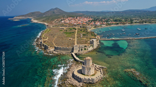 Staande foto Mediterraans Europa Aerial drone panoramic view of iconic Venetian castle of Methoni and Bourtzi tower on the southwest cape of Messinia, Peloponnese, Greece