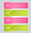 Business infographics template for presentation, education, web design, banners, brochures, flyers. Pink and green tabs. Vector illustration.